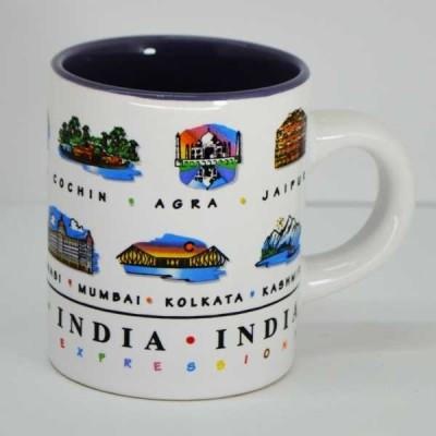 India Souvenirs 4 Oz White  with India Expression Design Porcelain Mug