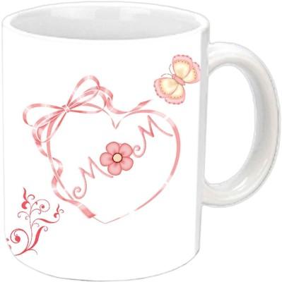 Jiya Creation1 MOM in heart shape White Ceramic Mug