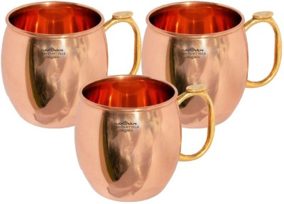 Indian Craft Villa IndianCraftVilla Handmade Set Of 3 Moscow Mule  Pure Copper Volume 530 ML for use Restaurant Ware Bar Ware Beer Cup Vodka Hotel Ware Copper Mug