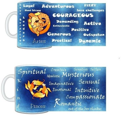 CreativesKart Zodiac Aries (M) Pisces (F) Compatibility  Ceramic Mug