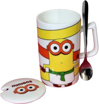 Satyam Kraft Minions  - Meet Stuart Kevin and Bob  with Metal Spoon and Lid Ceramic Mug