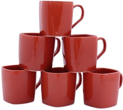 Aarzool Maroon Square Cups Ceramic Mug