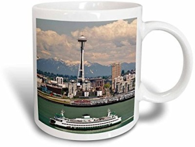 3dRose Washington, Seattle. Ferry Crosses Elliot Bay Us48 Ccr0218 Charles Crust Ceramic , 15 oz, White Ceramic Mug
