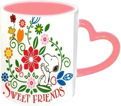 Jiya Creation1 Sweet Friends Pink Heart Handle Ceramic Mug