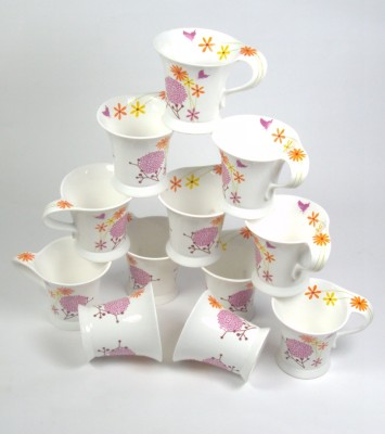 Clay Craft CP/ Wonder Multi Color Flower Bone China Mug