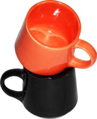 Buyer's Beach Elegant Multicolor Tumbler Cup (O&Blk)Set Of-2 Ceramic Mug