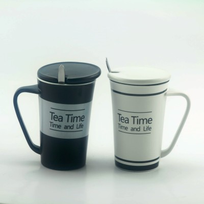 Importwala Tea Time Coffe / Milk s with lid and spoon- Set of 2 Ceramic Mug