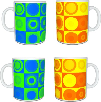 CreativesKart Rings Blue N Orange  Family Pack Ceramic Mug