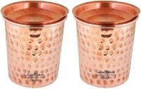 Indian Craft Villa IndianCraftVilla Set Of 2 Pure Copper Small Hammered Glass with Lid - 250 ML Serving Water - Home, Hotel, Restaurant, Good Health,