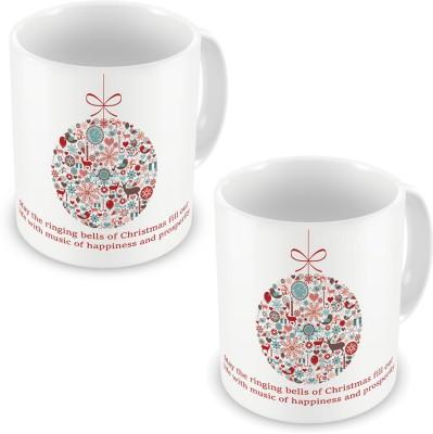 Indian Gift Emporium Fancy Printed Cute White Coffee s Pair 600 Ceramic Mug