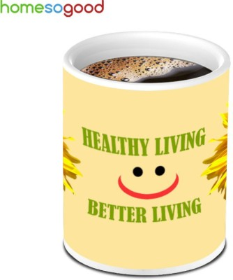 HomeSoGood Sun Flower For Healthy Living Ceramic Mug