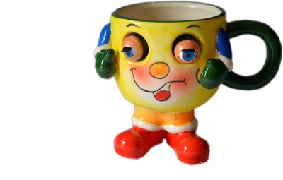 MGPLifestyle Blinking Eyes Ceramic  (Glass Finish) in Yello Colors Ceramic Mug