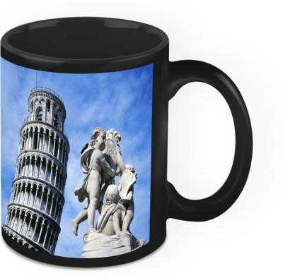 HomeSoGood Statue Of Angels Near Leaning Tower Of Pisa Ceramic Mug