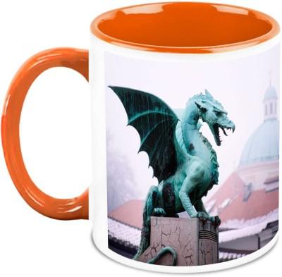 HomeSoGood Midnight Dragon Statue Ceramic Mug