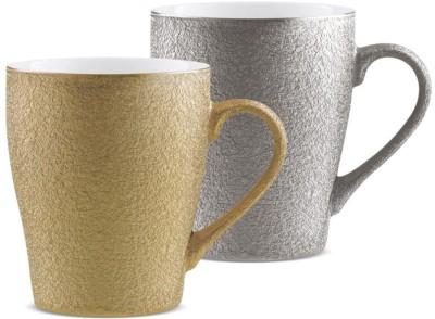 Treo Cupid Silver-Gold Ceramic Mug(350 ml, Pack of 2)