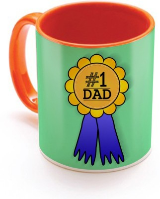 SKY TRENDS GIFT No.1 Dad A Special and Best Occassion With Yellow Best Gifts For Dad Happy Father,s Day Inner Orange Color Ceramic Mug