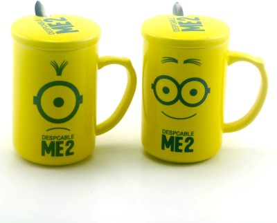 Importwala Me 2 Coffe / Milk s with lid and spoon- Set of 2 Ceramic Mug