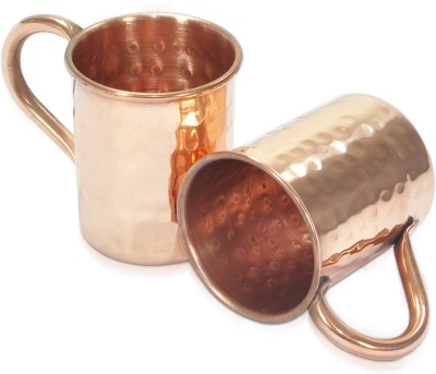 Dungri India Craft Set of 2, 100 % Pure copper hammered 70 ML / 2.3 oz SHOT Moscow Mule Vodka  - Cocktail Copper Mug