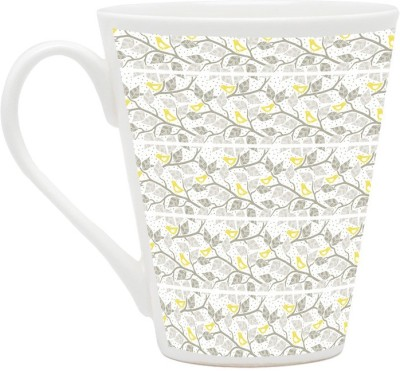 HomeSoGood Beautiful Leaves And Flowers Pattern Lattes Ceramic Mug