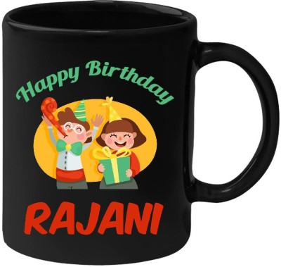 Huppme Happy Birthday Rajani Black  (350 ml) Ceramic Mug