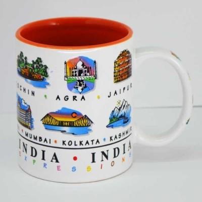 India Souvenirs 11 Oz White  with India Expression Design Porcelain Mug