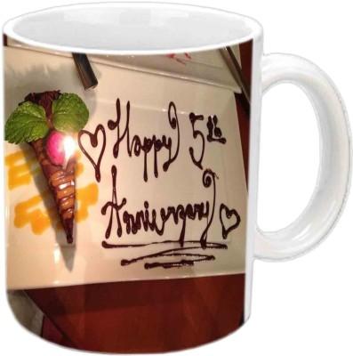 Jiya Creation1 Happy 5th Wedding Anniversary White Ceramic Mug