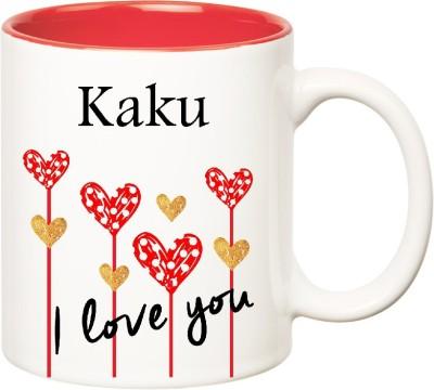 Huppme I Love You Kaku Inner Red  (350 ml) Ceramic Mug