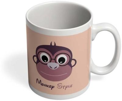PosterGuy Monkey Style Colorful Monkey, Stylized, Style, Colors, Animal, Tail, Face, Vector, Art, Illustration, Cartoon, Comic, Funny. Ceramic Mug