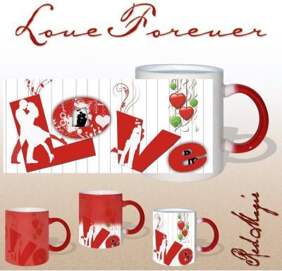 Snapgalaxy L O V E Forever in Red Magic Ceramic Mug