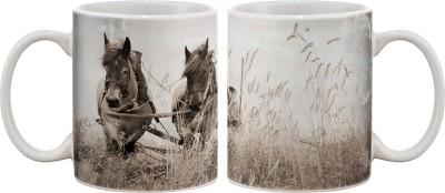 Artifa Horses Pulling Cart Porcelain, Ceramic Mug