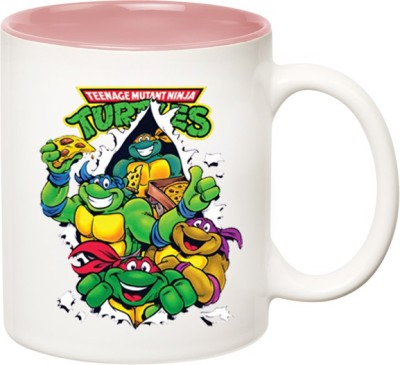 HuppmeGift Ninja Turtle action Inner Pink  Ceramic Mug