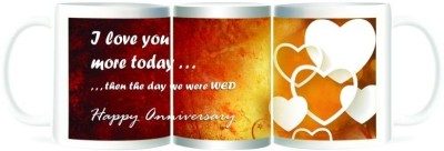 Refeel Gifts Happy Anniversary - I Love You More Today Ceramic Mug