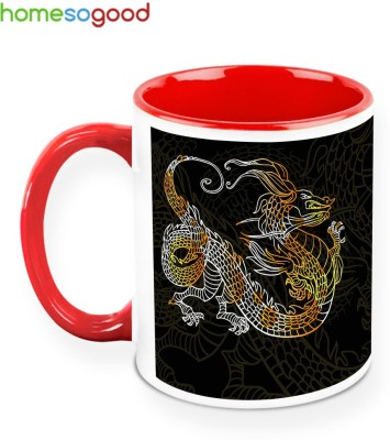 HomeSoGood Angry Dragon Ceramic Mug
