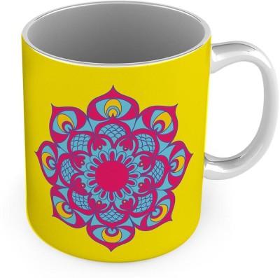 Home India Flower Printed Design Delightful Yellow Coffee  566 Ceramic Mug