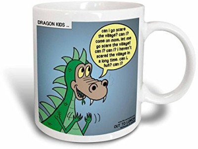 3dRose Dragon Kids Ceramic , 11 oz, White Ceramic Mug