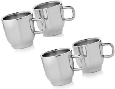 Dynore Set of 4 Double Wall Classic Cups Stainless Steel Mug