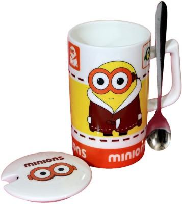 Satyam Kraft Minions  - Meet Stuart Kevin and Bob  with Metal Spoon and Lid - Version 3 Ceramic Mug