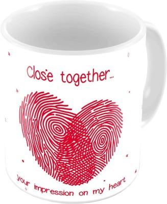 Little India White Designer Romantic Print Coffee  632 Ceramic Mug