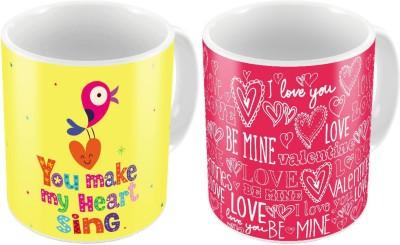 Little India Designer Romantic Printed Coffee  Pair 451 Ceramic Mug