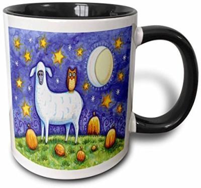 3dRose mug_159518_4 Whimsical Sheep and Owl Halloween Scene Two Tone Black , 11 oz, Black/White Ceramic Mug