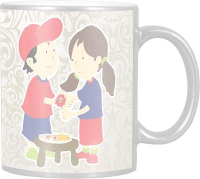 Huppme Rakshabandhan Bhai Behen Ka Pyar Silver  Ceramic Mug