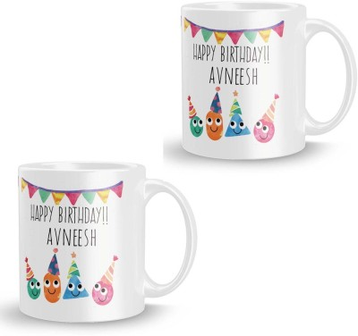 posterchacha Avneesh Personalised Custom Name Happy Birthday Gift Tea And Coffee  For Gift Use Ceramic Mug