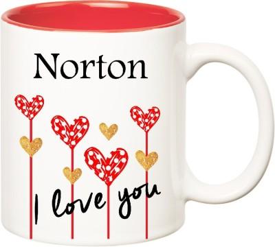 Huppme I Love You Norton Inner Red  (350 ml) Ceramic Mug