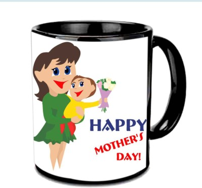 Jiya Creation1 Happy Mother's day with cute baby & Mother Multicolor Ceramic Mug