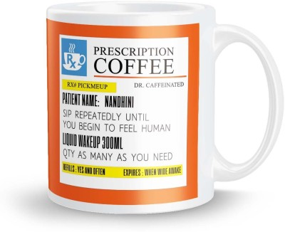 posterchacha Personalized Prescription Tea And Coffee  For Patient Name Nandhini For Gift And Self Use Ceramic Mug
