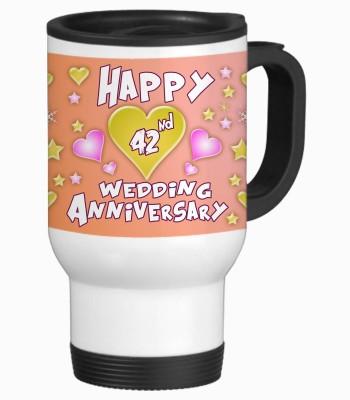 Sajawat Homes 42nd Happy Anniversary White Travel Stainless Steel Mug