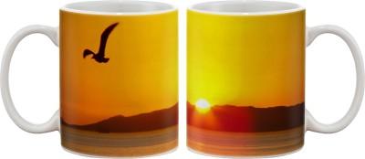 Artifa Eagle Flying During Sunset Porcelain, Ceramic Mug