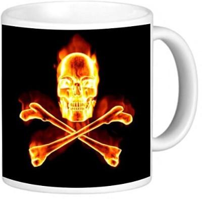 Rikki Knight LLC Knight Photo Quality Ceramic Coffee , 11 oz, Fiery Skull and Bones D Design Ceramic Mug