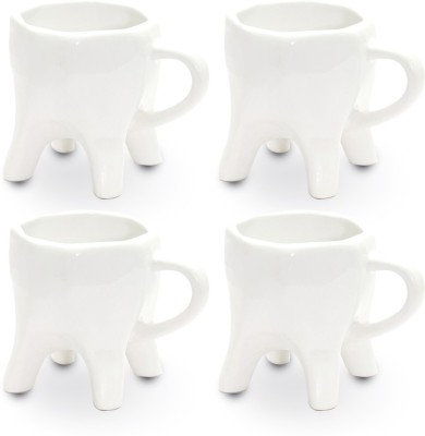 ThinNFat Tooth  Pack Of 4 s (233Ml) Ceramic Mug