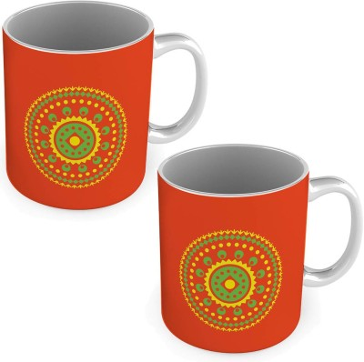 Little India Fancy Printed Easy to Carry Red Coffee s Pair 570 Ceramic Mug